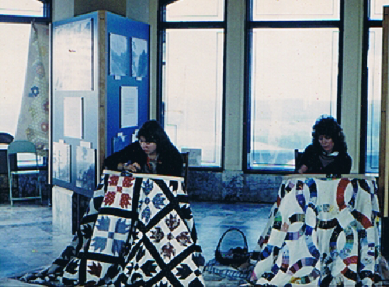 Me and my sis putting on a folk art demo at Vista House - 1983